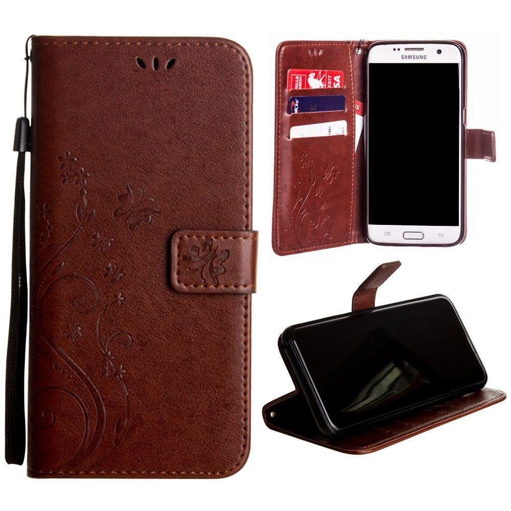 buy popular 9f585 9e0a1 Samsung Galaxy S7 Edge Embossed Butterfly Design Leather Folding Wallet  Case with Wristlet, Coffee