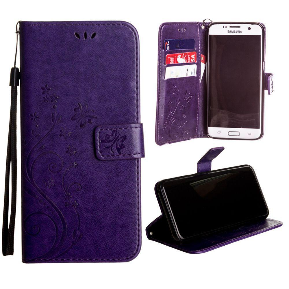 - Embossed Butterfly Design Leather Folding Wallet Case with Wristlet, Purple for Samsung Galaxy S7 Edge