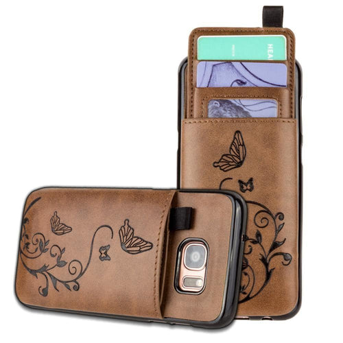 Samsung Galaxy S7 Edge - Embossed Butterfly Leather Case with Pull-Out Card Slot Organizer, Brown for Samsung Galaxy S7 Edge