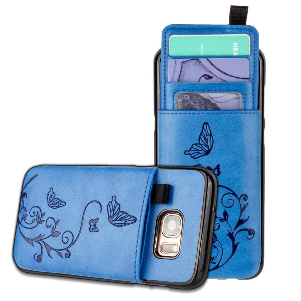 - Embossed Butterfly Leather Case with Pull-Out Card Slot Organizer, Blue for Samsung Galaxy S7 Edge