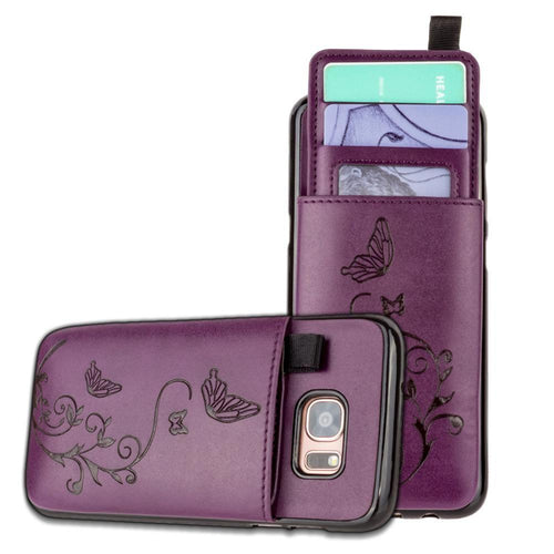Samsung Galaxy S7 Edge - Embossed Butterfly Leather Case with Pull-Out Card Slot Organizer, Purple for Samsung Galaxy S7 Edge
