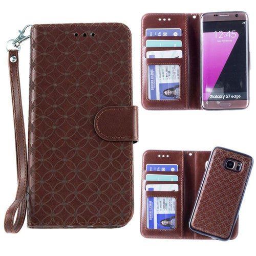 Samsung Galaxy S7 Edge - Diamond pattern laser-cut wallet with detachable matching slim case and wristlet, Dark Brown for Samsung Galaxy S7 Edge