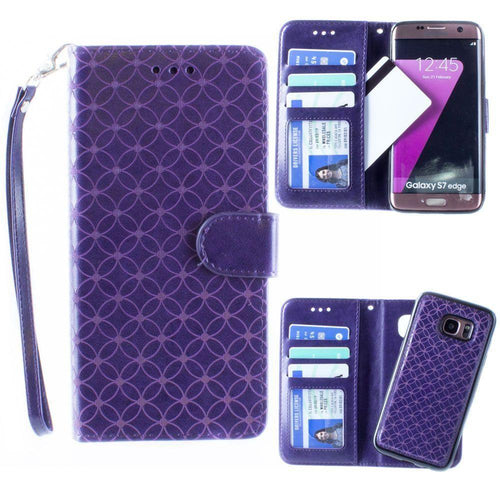 Samsung Galaxy S7 Edge - Diamond pattern laser-cut wallet with detachable matching slim case and wristlet, Purple for Samsung Galaxy S7 Edge