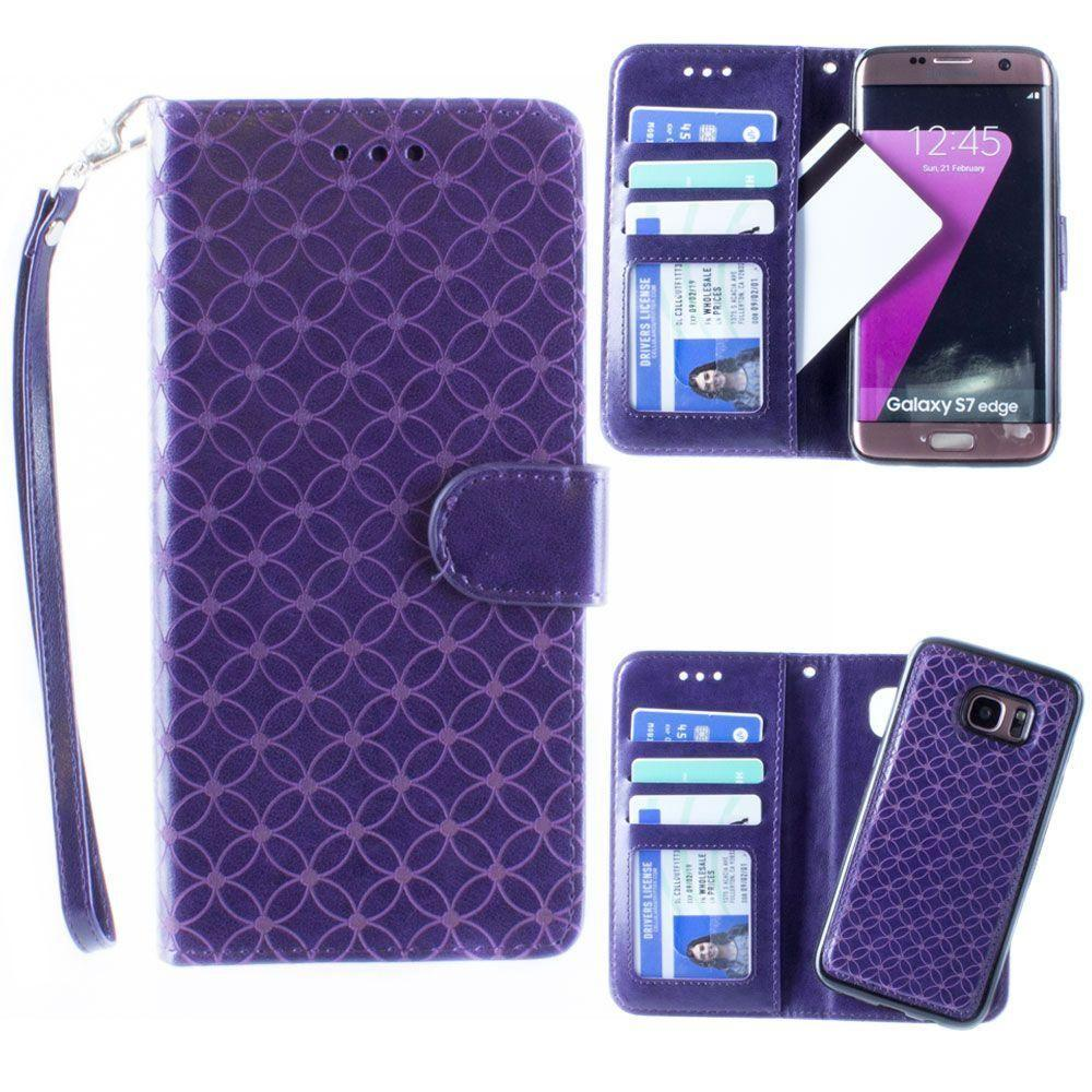- Diamond pattern laser-cut wallet with detachable matching slim case and wristlet, Purple for Samsung Galaxy S7 Edge