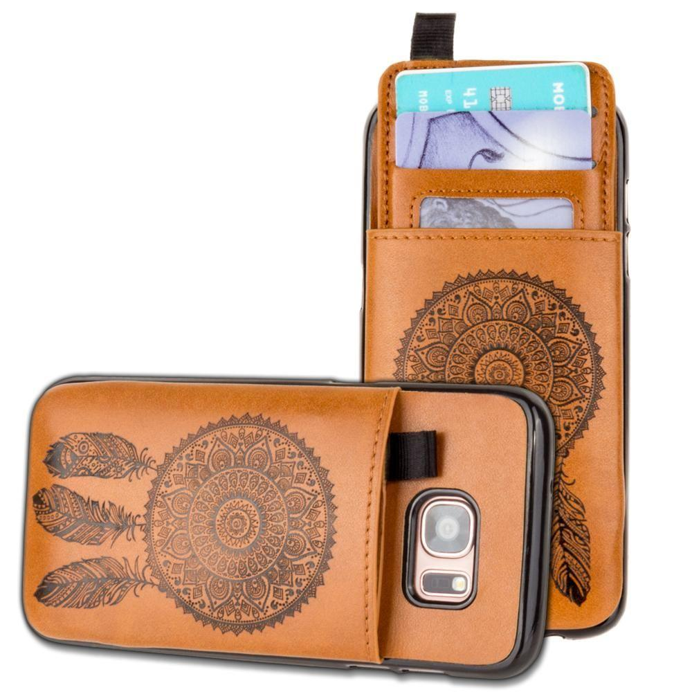 - Embossed Dreamcatcher Leather Case with Pull-Out Card Slot Organizer, Taupe for Samsung Galaxy S7 Edge