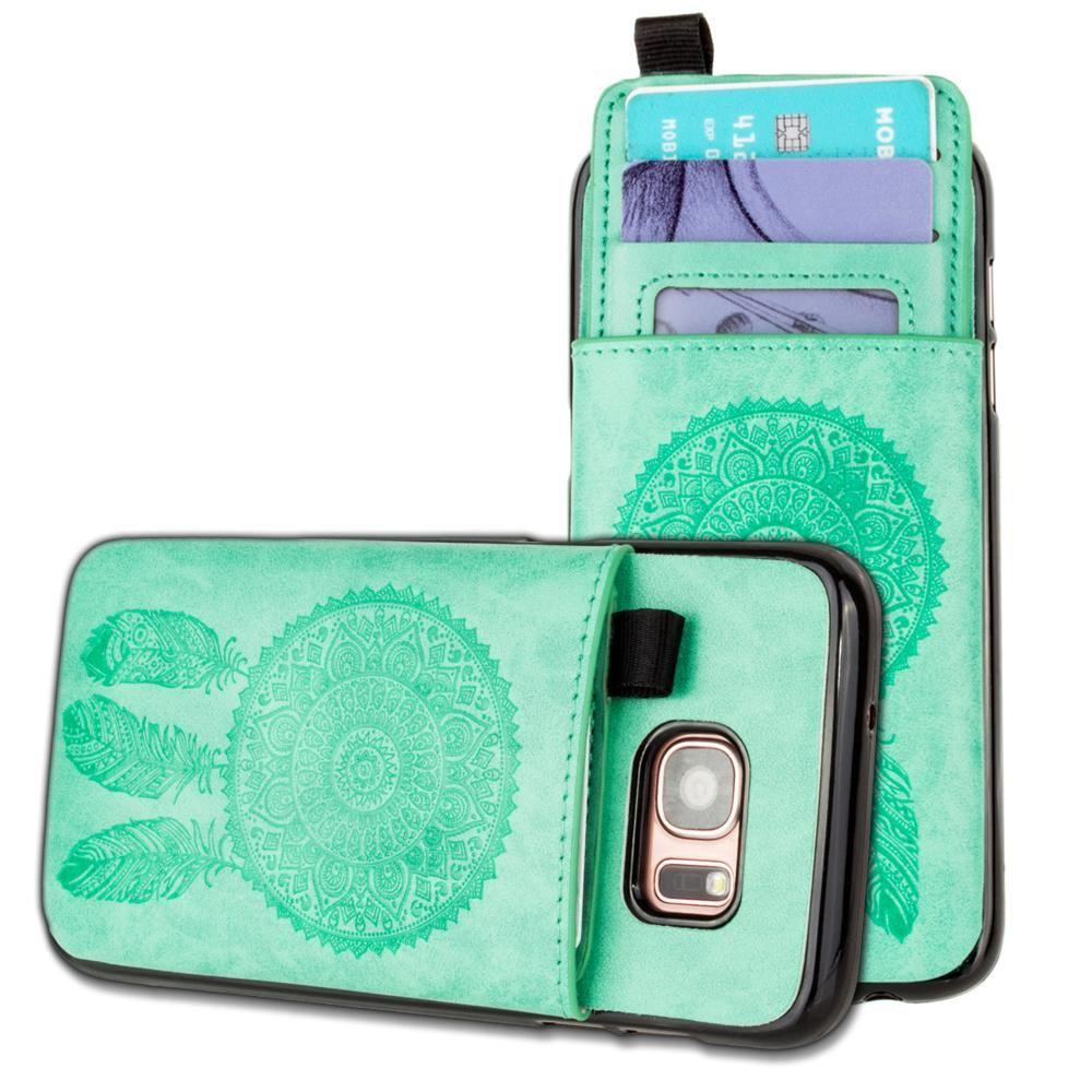 - Embossed Dreamcatcher Leather Case with Pull-Out Card Slot Organizer, Mint for Samsung Galaxy S7 Edge