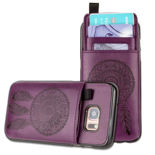 Samsung Galaxy S7 Edge - Embossed Dreamcatcher Leather Case with Pull-Out Card Slot Organizer, Purple for Samsung Galaxy S7 Edge
