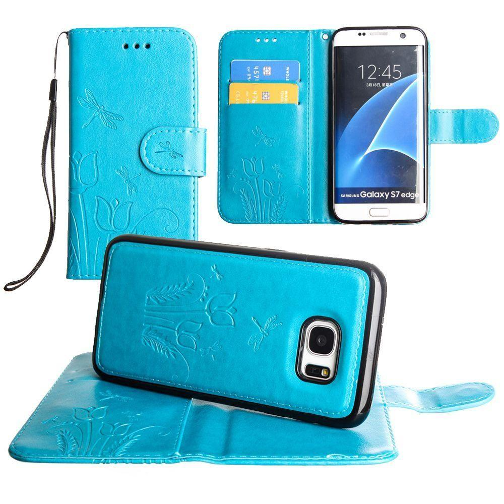 - Embossed dragonfly over tulip design wallet case with Matching detachable magnetic case and wristlet, Teal