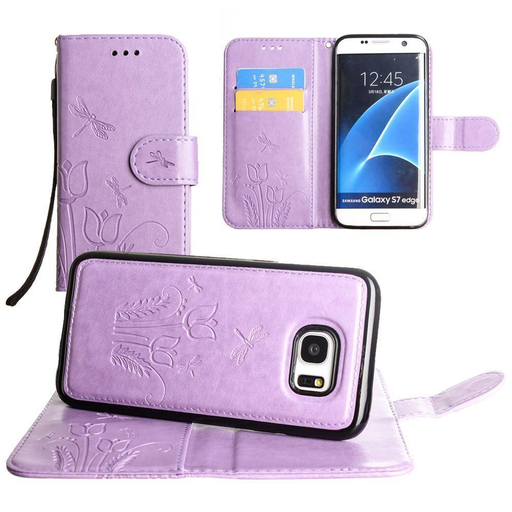 - Embossed dragonfly over tulip design wallet case with Matching detachable magnetic case and wristlet, Lavender for Samsung Galaxy S7 Edge