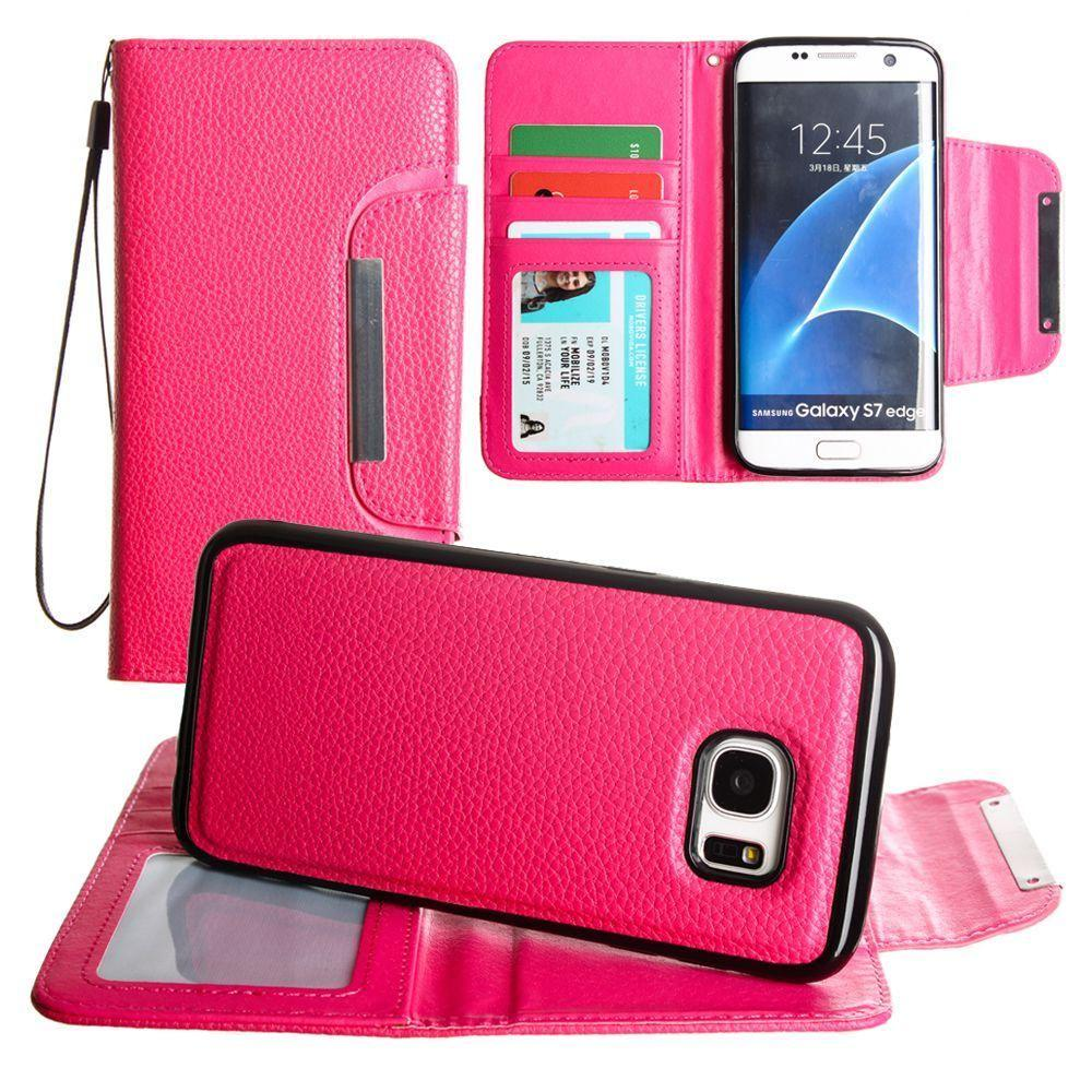 - Compact Wallet Case with Detachable Slim Case, Card Slots and wristlet, Hot Pink for Samsung Galaxy S7 Edge