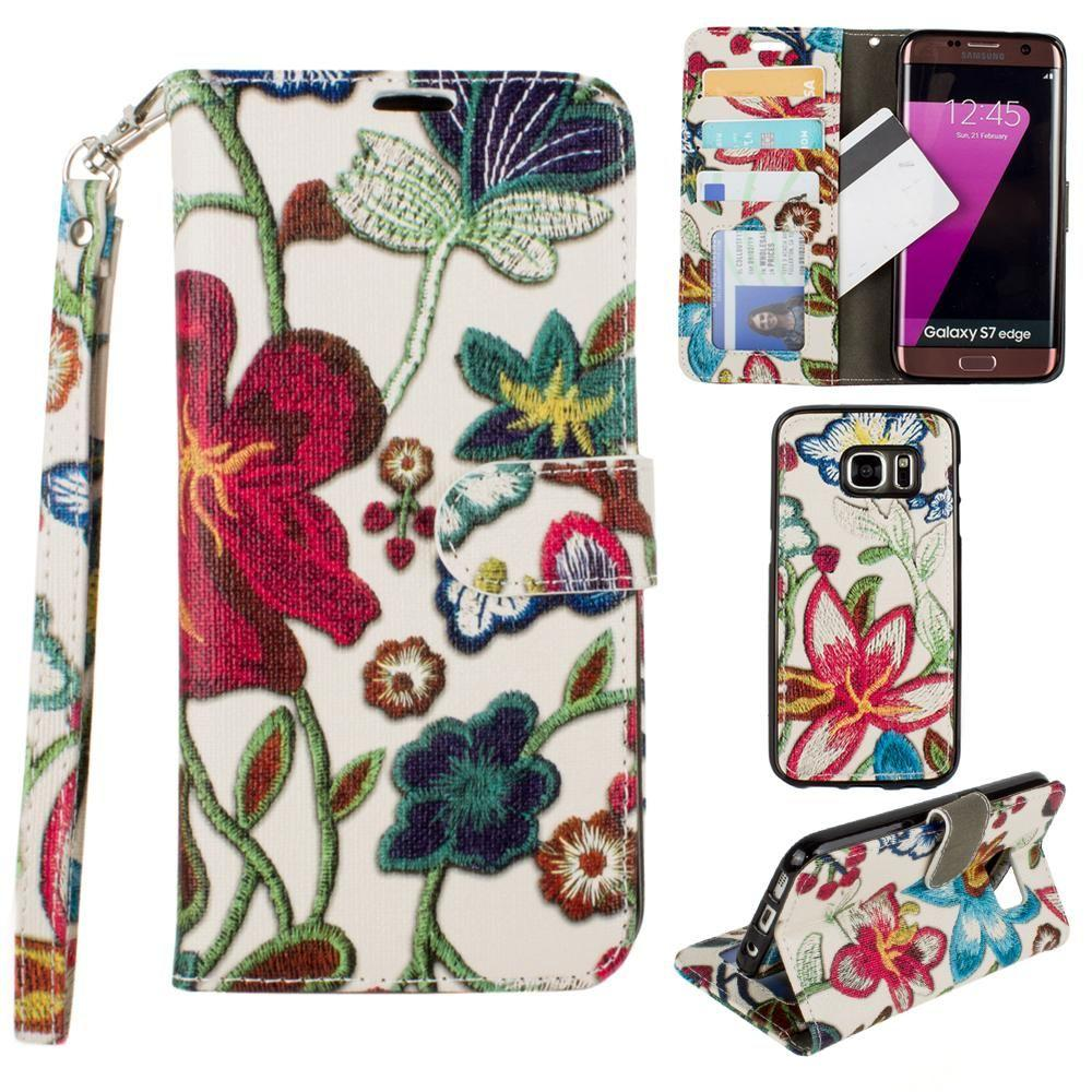 - Faux Embroidery Printed Floral Wallet Case with detachable matching slim case and wristlet, Multi-Color for Samsung Galaxy S7 Edge