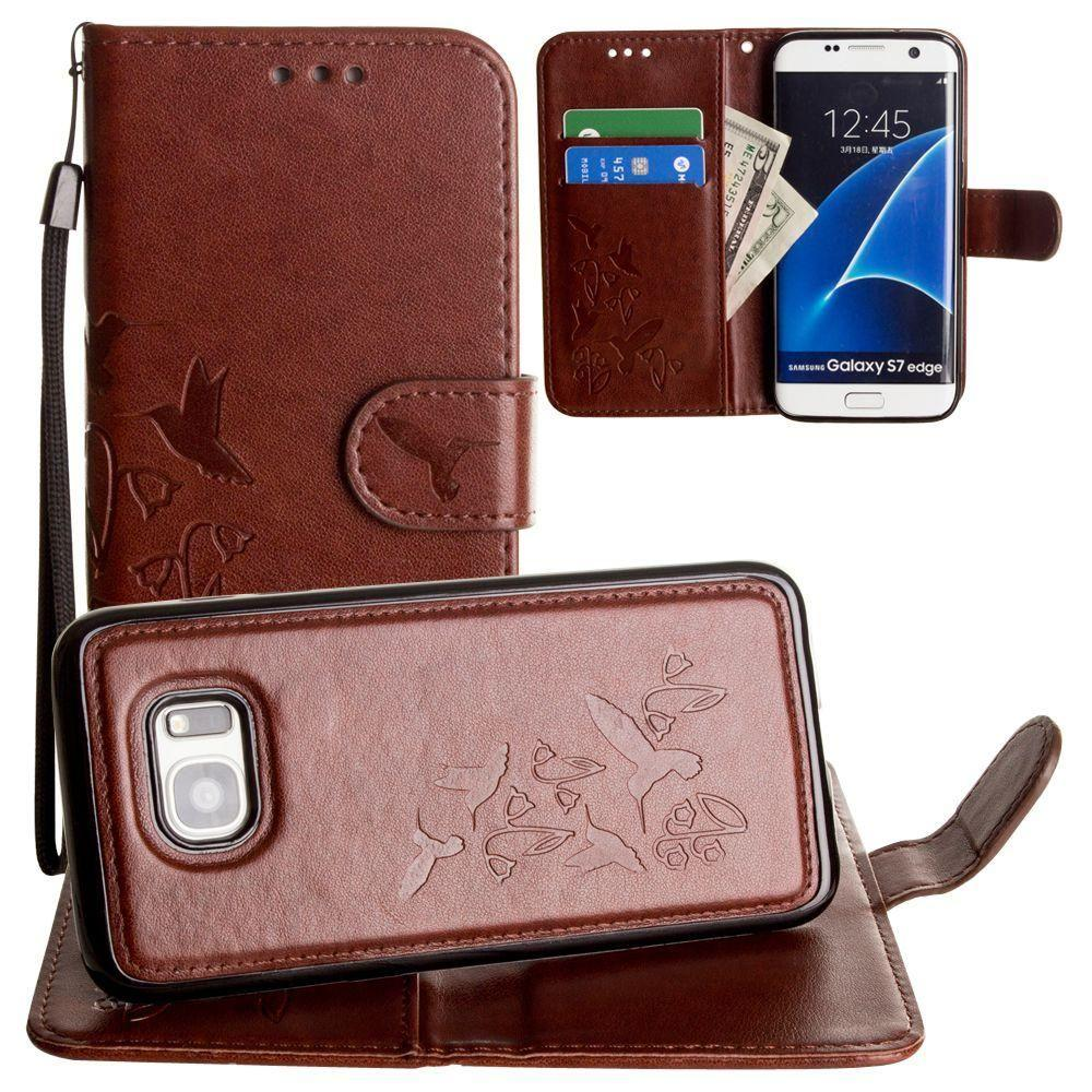 - Embossed Humming Bird Design Wallet Case with Matching Removable Case and Wristlet, Brown for Samsung Galaxy S7 Edge