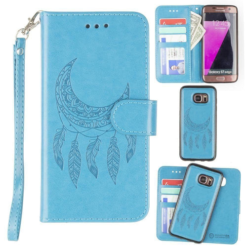Samsung Galaxy S7 Edge - Embossed Moon Dream Catcher Design Wallet Case with Detachable Matching Case and Wristlet, Teal for Samsung Galaxy S7 Edge
