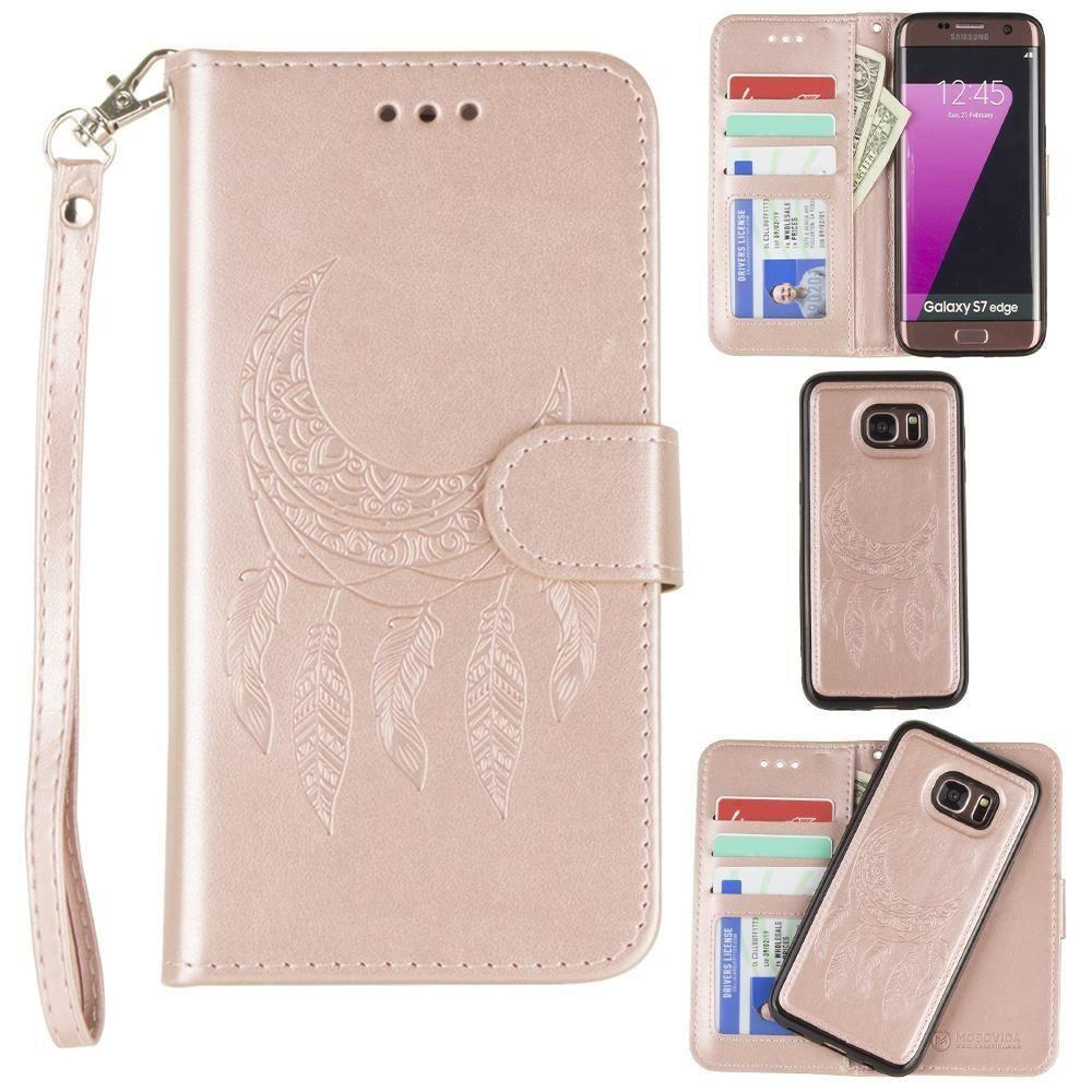 - Embossed Moon Dream Catcher Design Wallet Case with Detachable Matching Case and Wristlet, Rose Gold for Samsung Galaxy S7 Edge