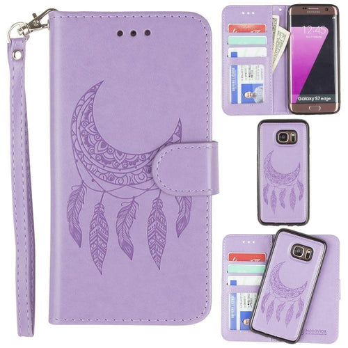 Samsung Galaxy S7 Edge - Embossed Moon Dream Catcher Design Wallet Case with Detachable Matching Case and Wristlet, Lavender for Samsung Galaxy S7 Edge