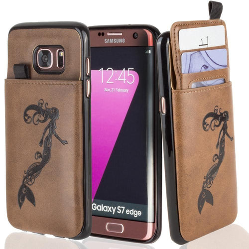 Embossed - Embossed Mermaid Leather Case with Pull-Out Card Slot Organizer, Brown for Samsung Galaxy S7 Edge