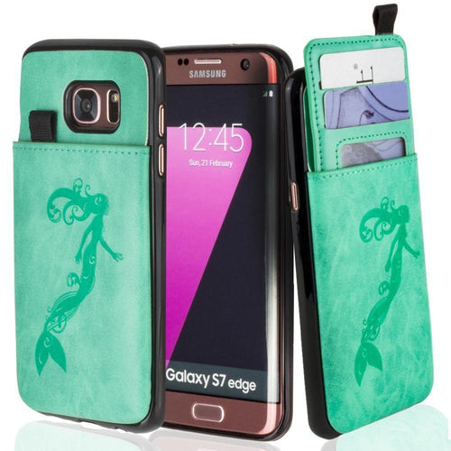 Embossed - Embossed Mermaid Leather Case with Pull-Out Card Slot Organizer, Mint for Samsung Galaxy S7 Edge