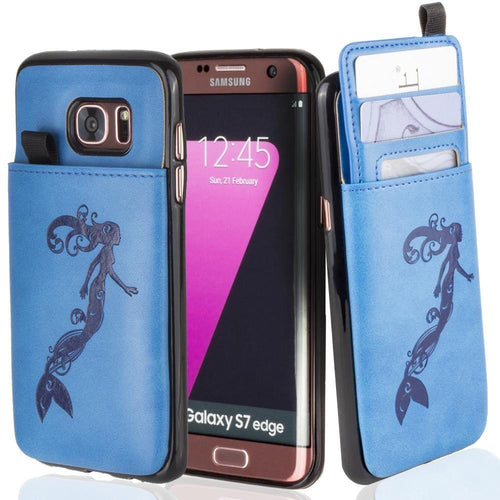 Embossed - Embossed Mermaid Leather Case with Pull-Out Card Slot Organizer, Blue for Samsung Galaxy S7 Edge