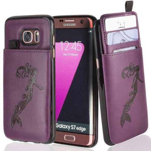 Embossed - Embossed Mermaid Leather Case with Pull-Out Card Slot Organizer, Purple for Samsung Galaxy S7 Edge