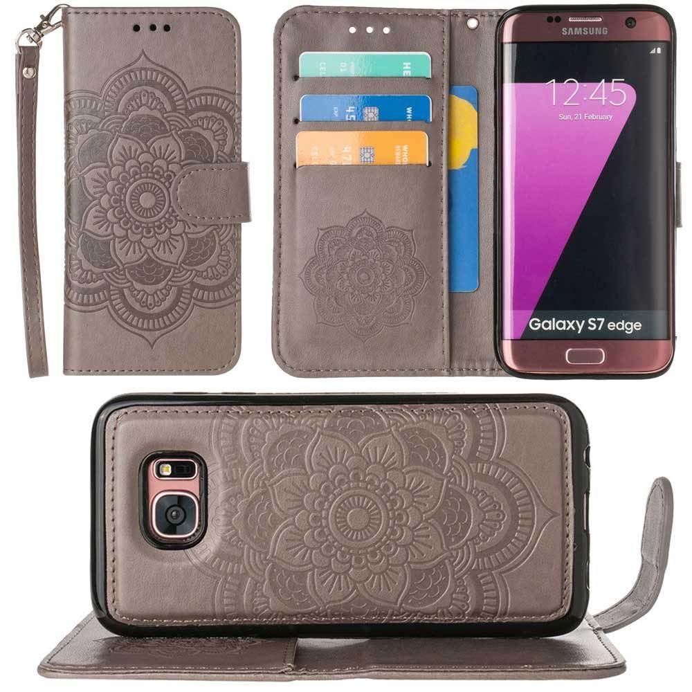 - Embossed Mandala Wallet Case with Detachable Matching Case and Wristlet, Gray for Samsung Galaxy S7 Edge