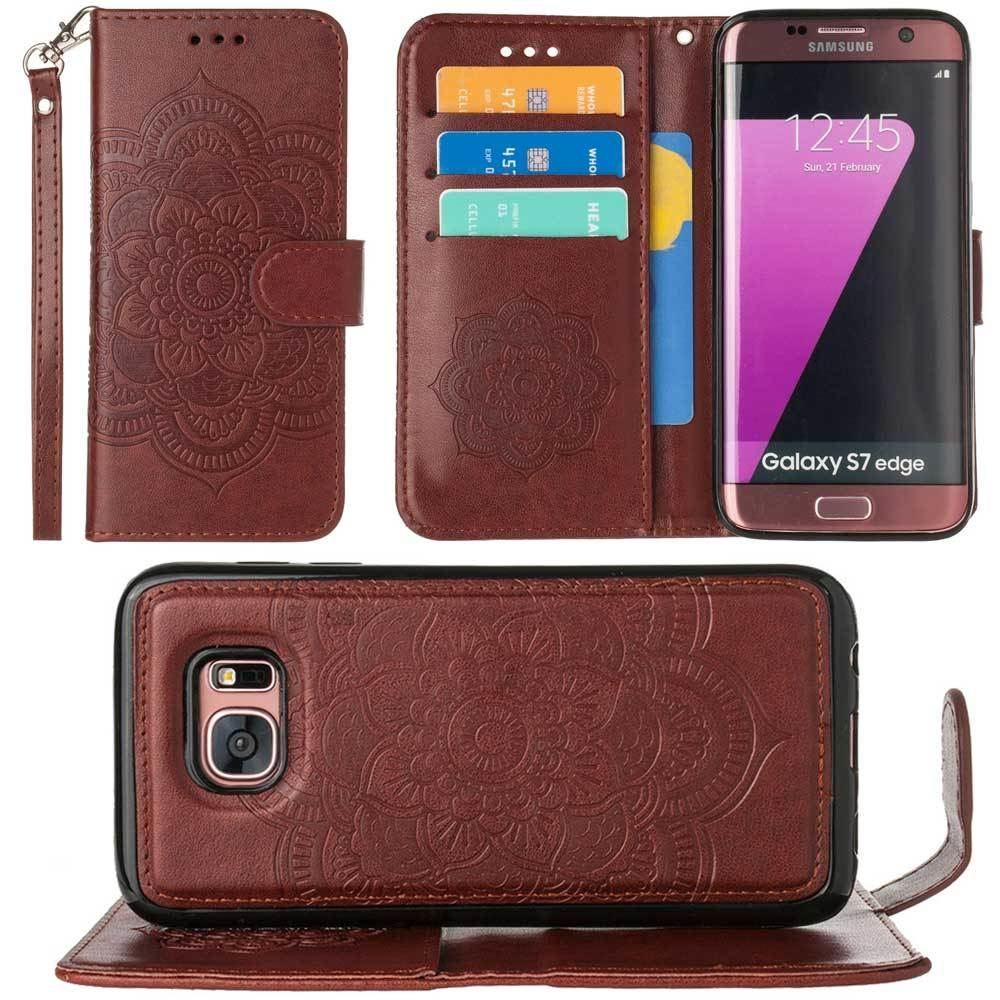 - Embossed Mandala Wallet Case with Detachable Matching Case and Wristlet, Brown for Samsung Galaxy S7 Edge