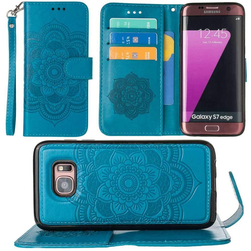 - Embossed Mandala Wallet Case with Detachable Matching Case and Wristlet, Teal for Samsung Galaxy S7 Edge