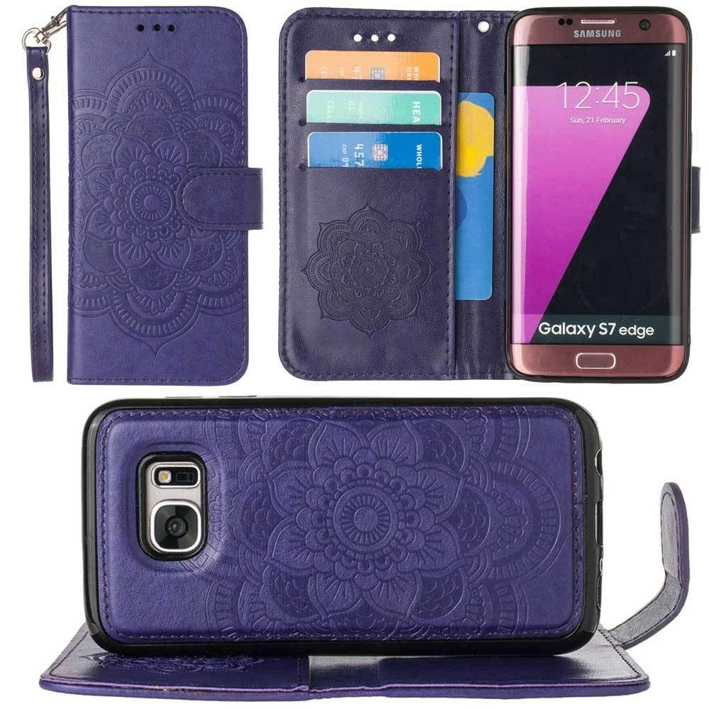- Embossed Mandala Wallet Case with Detachable Matching Case and Wristlet, Purple for Samsung Galaxy S7 Edge