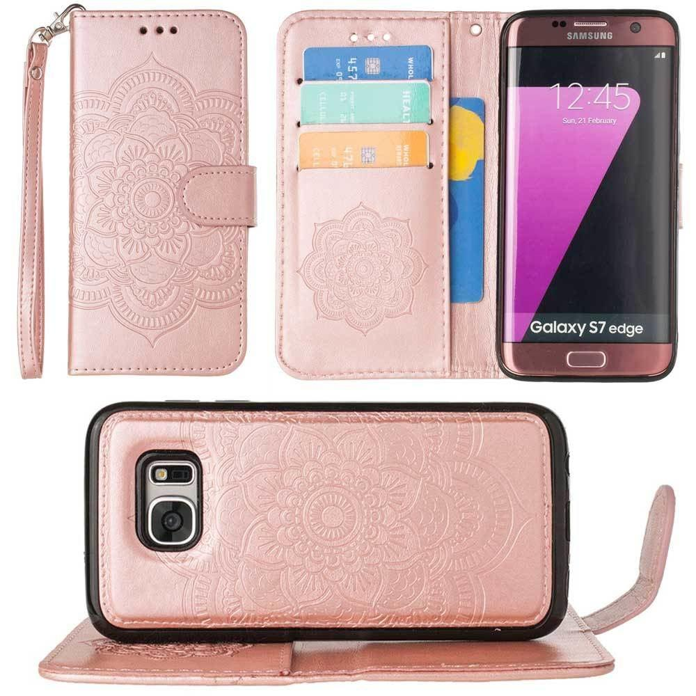 - Embossed Mandala Wallet Case with Detachable Matching Case and Wristlet, Rose Gold for Samsung Galaxy S7 Edge