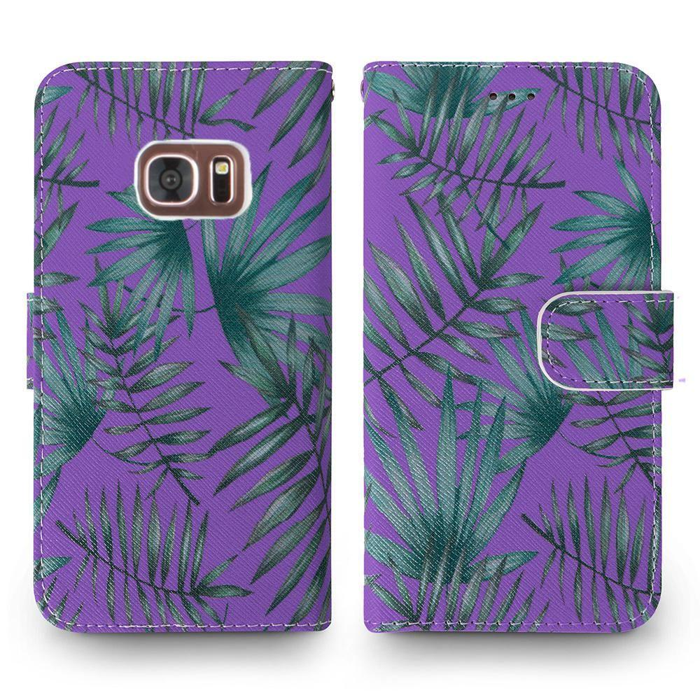 - Palm Leaves Printed Wallet with Matching Detachable Slim Case and Wristlet, Purple/Green for Samsung Galaxy S7 Edge
