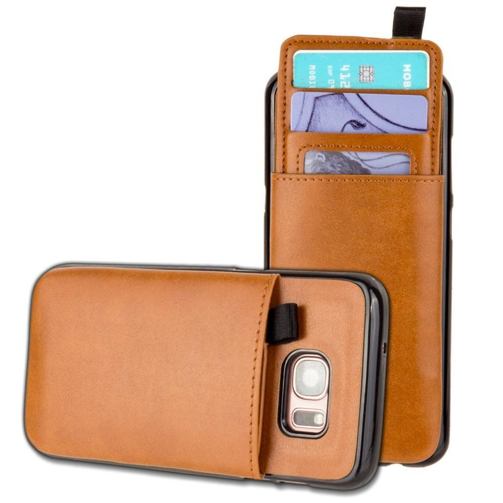 - Vegan Leather Case with Pull-Out Card Slot Organizer, Taupe for Samsung Galaxy S7 Edge