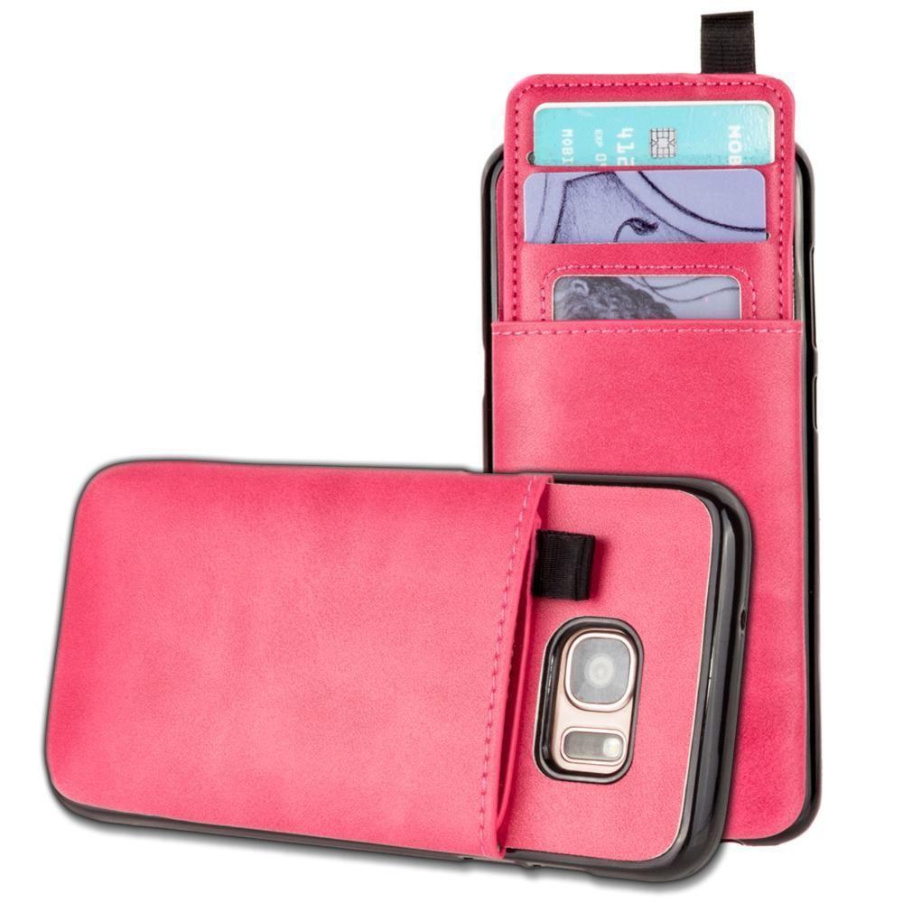 - Vegan Leather Case with Pull-Out Card Slot Organizer, Hot Pink for Samsung Galaxy S7 Edge