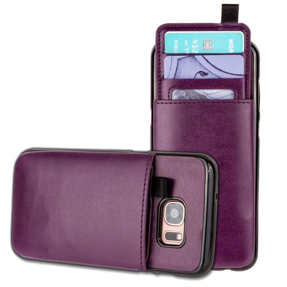 - Vegan Leather Case with Pull-Out Card Slot Organizer, Purple for Samsung Galaxy S7 Edge
