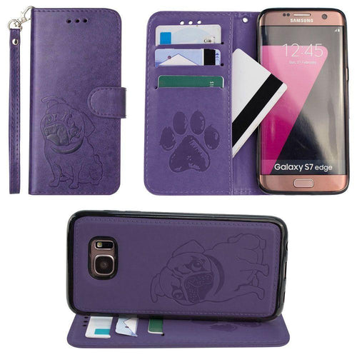 Samsung Galaxy S7 Edge - Pug dog debossed wallet with detachable matching slim case and wristlet, Purple for Samsung Galaxy S7 Edge