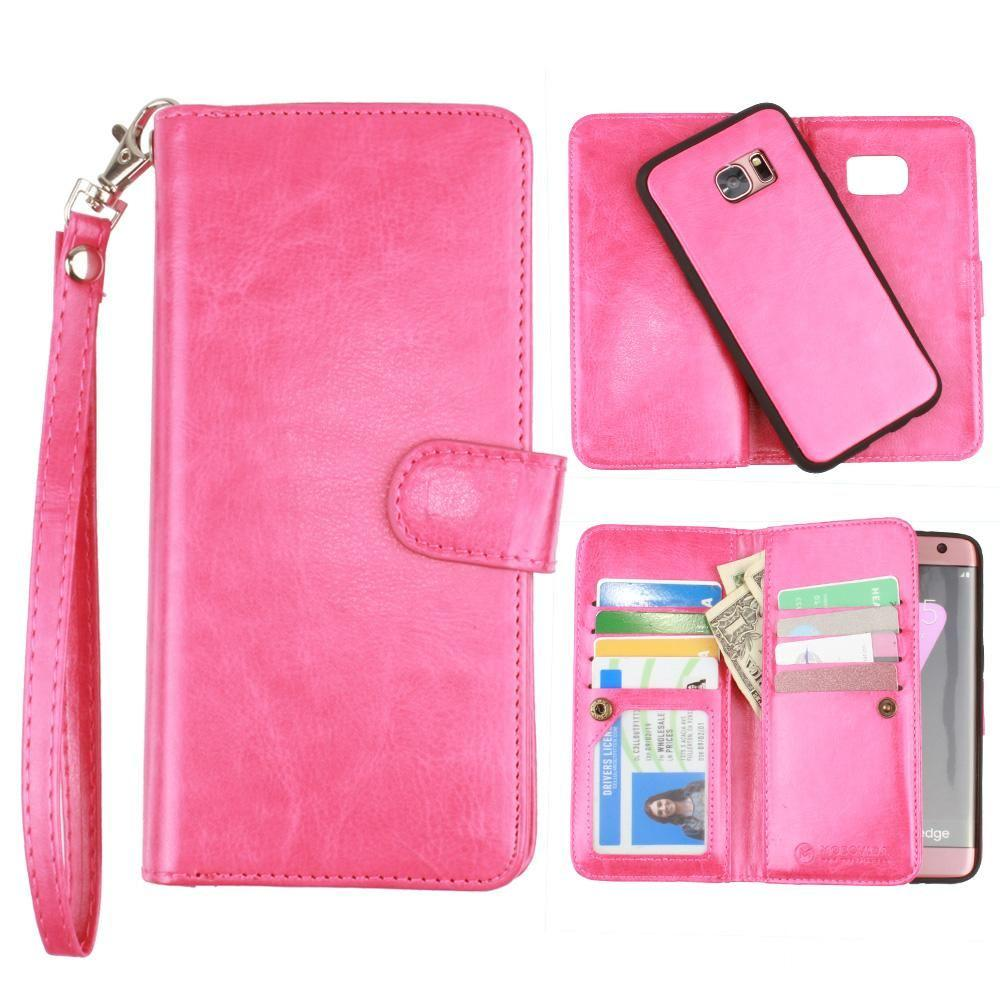 - Multi-Card Slot Wallet Case with Matching Detachable Case and Wristlet, Hot Pink for Samsung Galaxy S7 Edge