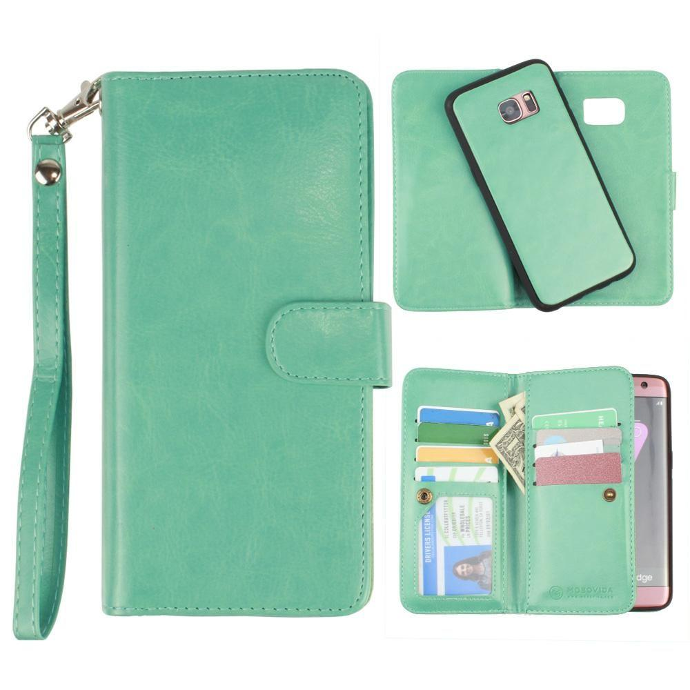 - Multi-Card Slot Wallet Case with Matching Detachable Case and Wristlet, Teal Blue for Samsung Galaxy S7 Edge