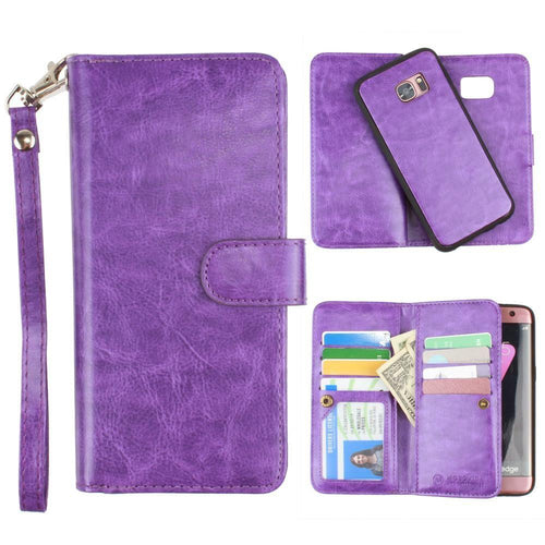 Samsung Galaxy S7 Edge - Multi-Card Slot Wallet Case with Matching Detachable Case and Wristlet, Purple for Samsung Galaxy S7 Edge