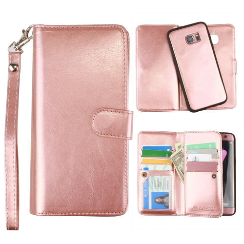 Samsung Galaxy S7 Edge - Multi-Card Slot Wallet Case with Matching Detachable Case and Wristlet, Rose Gold for Samsung Galaxy S7 Edge