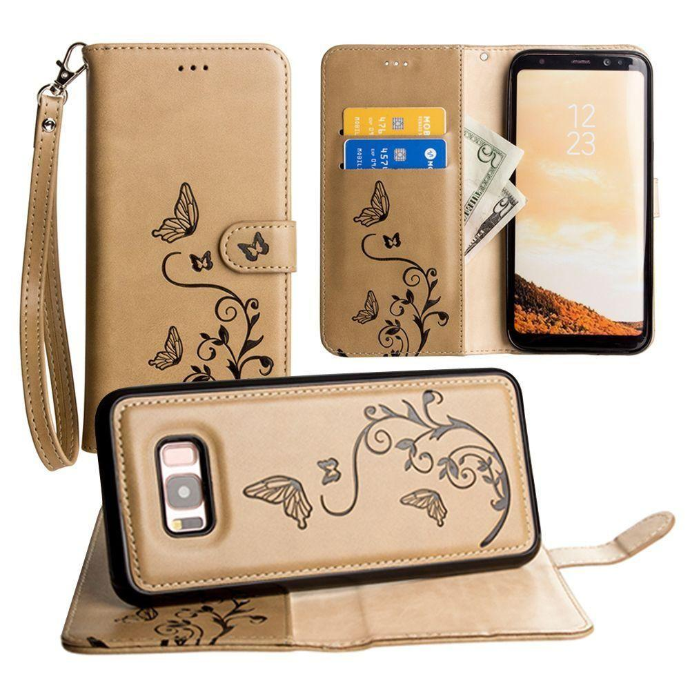 - Embossed Butterfly Design Wallet Case with Detachable Matching Case and Wristlet, Taupe for Galaxy S8 Plus