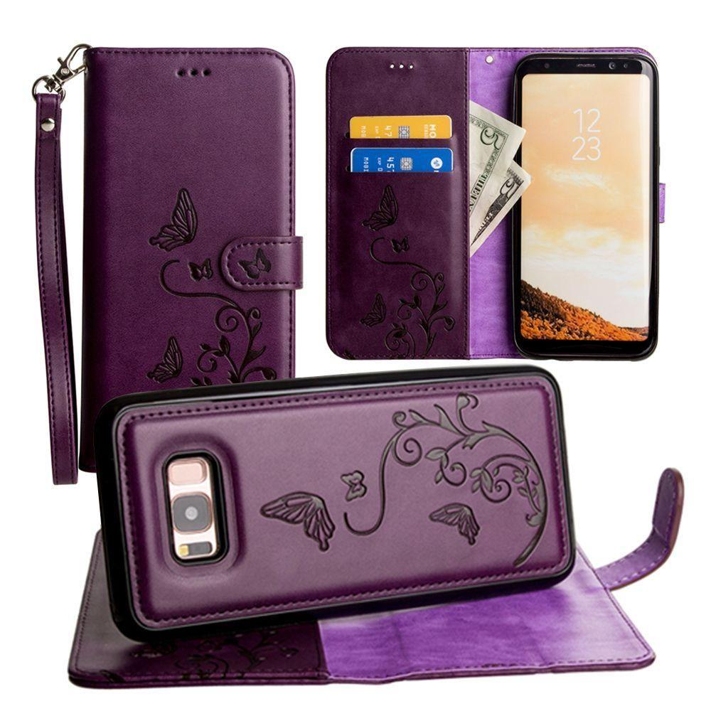 - Embossed Butterfly Design Wallet Case with Detachable Matching Case and Wristlet, Purple for Galaxy S8 Plus