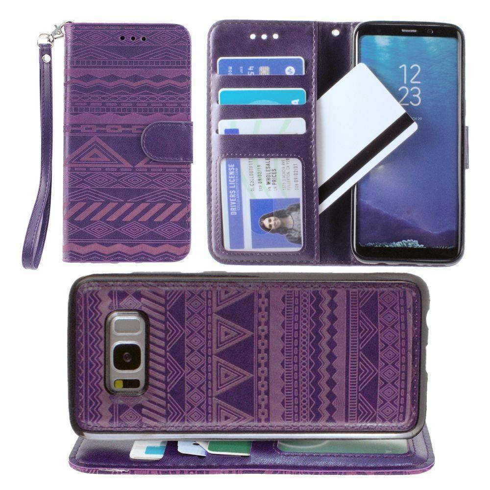 - Aztec tribal laser-cut wallet with detachable matching slim case and wristlet, Purple for Galaxy S8 Plus
