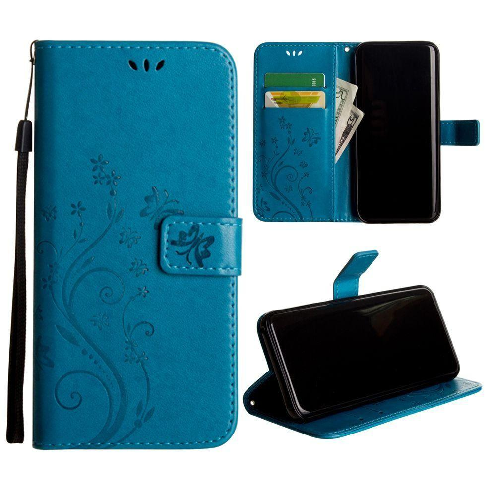 - Embossed Butterfly Design Leather Folding Wallet Case with Wristlet, Teal for Galaxy S8 Plus