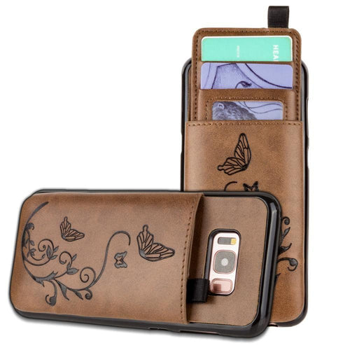 Samsung Galaxy S8 Plus - Embossed Butterfly Leather Case with Pull-Out Card Slot Organizer, Brown for Galaxy S8 Plus