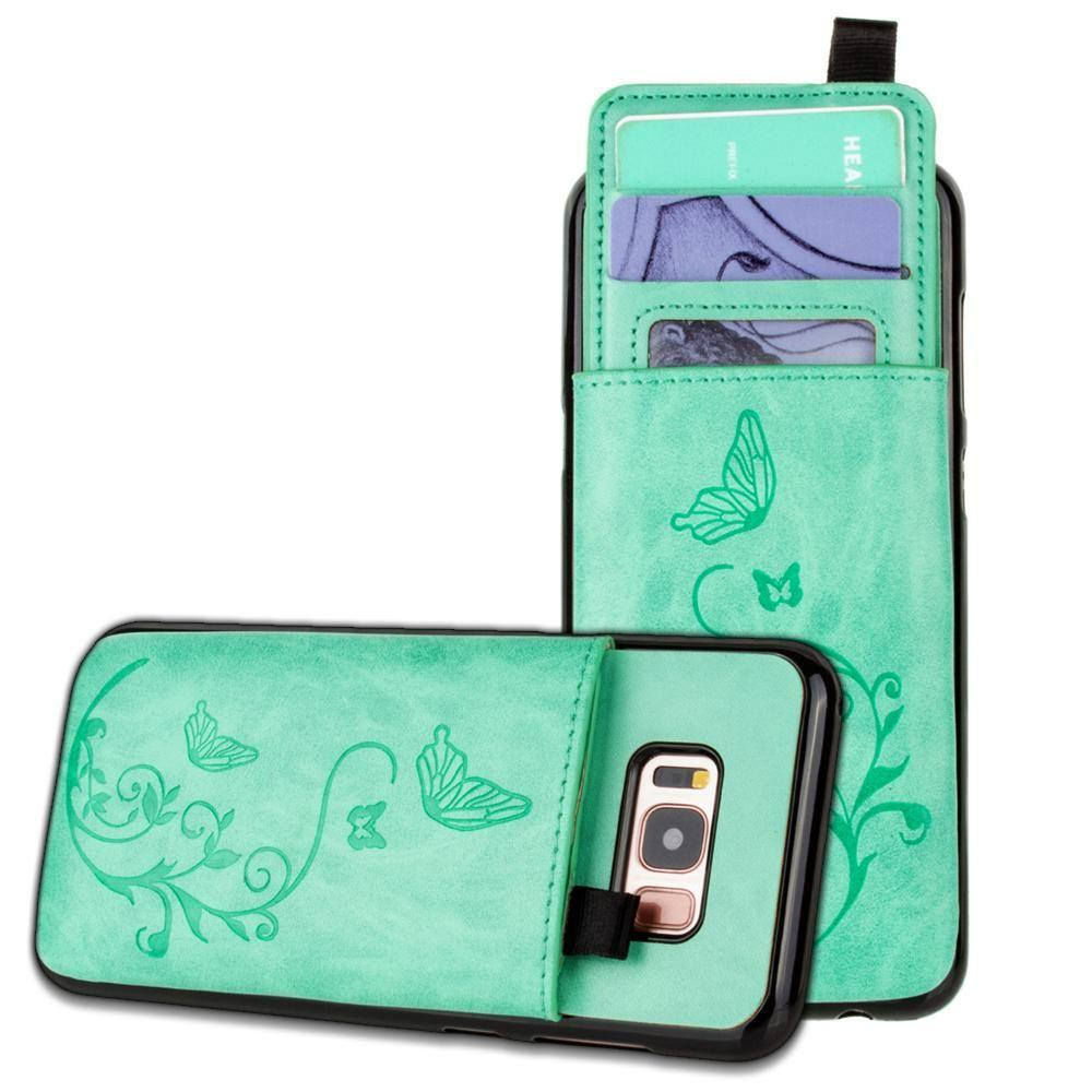 - Embossed Butterfly Leather Case with Pull-Out Card Slot Organizer, Mint for Galaxy S8 Plus