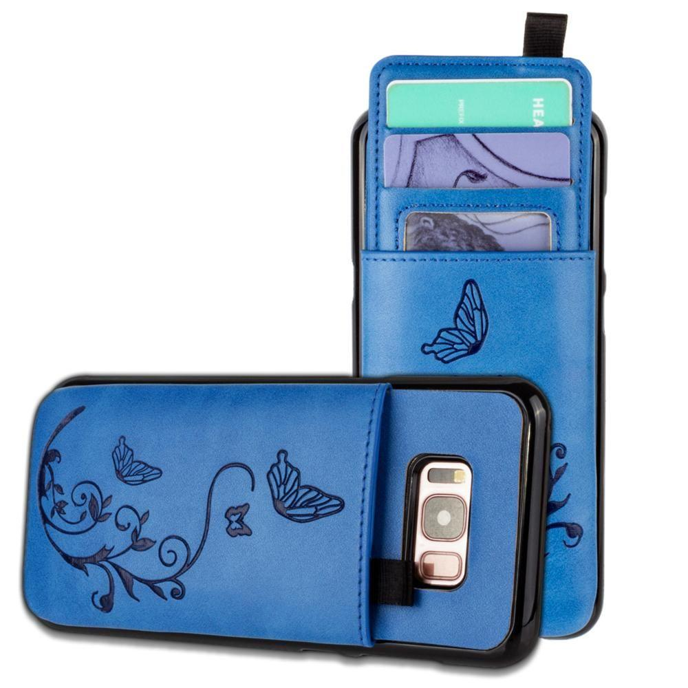 - Embossed Butterfly Leather Case with Pull-Out Card Slot Organizer, Blue for Galaxy S8 Plus