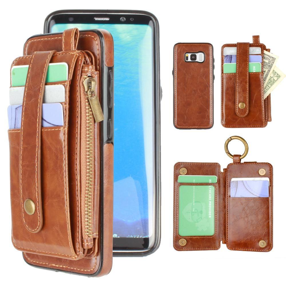 - Vegan Leather Case with Detachable Card Holder Wallet, Brown for Galaxy S8 Plus