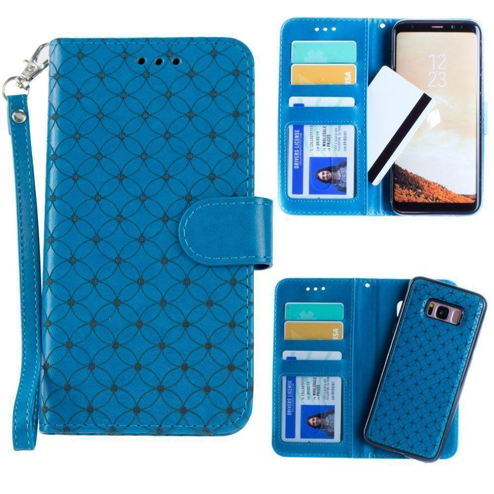 - Diamond pattern laser-cut wallet with detachable matching slim case and wristlet, Teal Blue for Galaxy S8 Plus