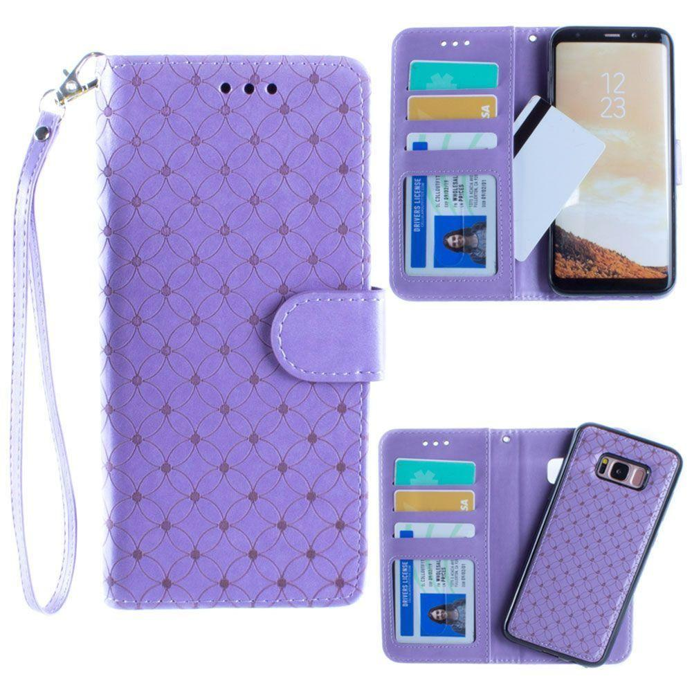 - Diamond pattern laser-cut wallet with detachable matching slim case and wristlet, Lavender for Galaxy S8 Plus
