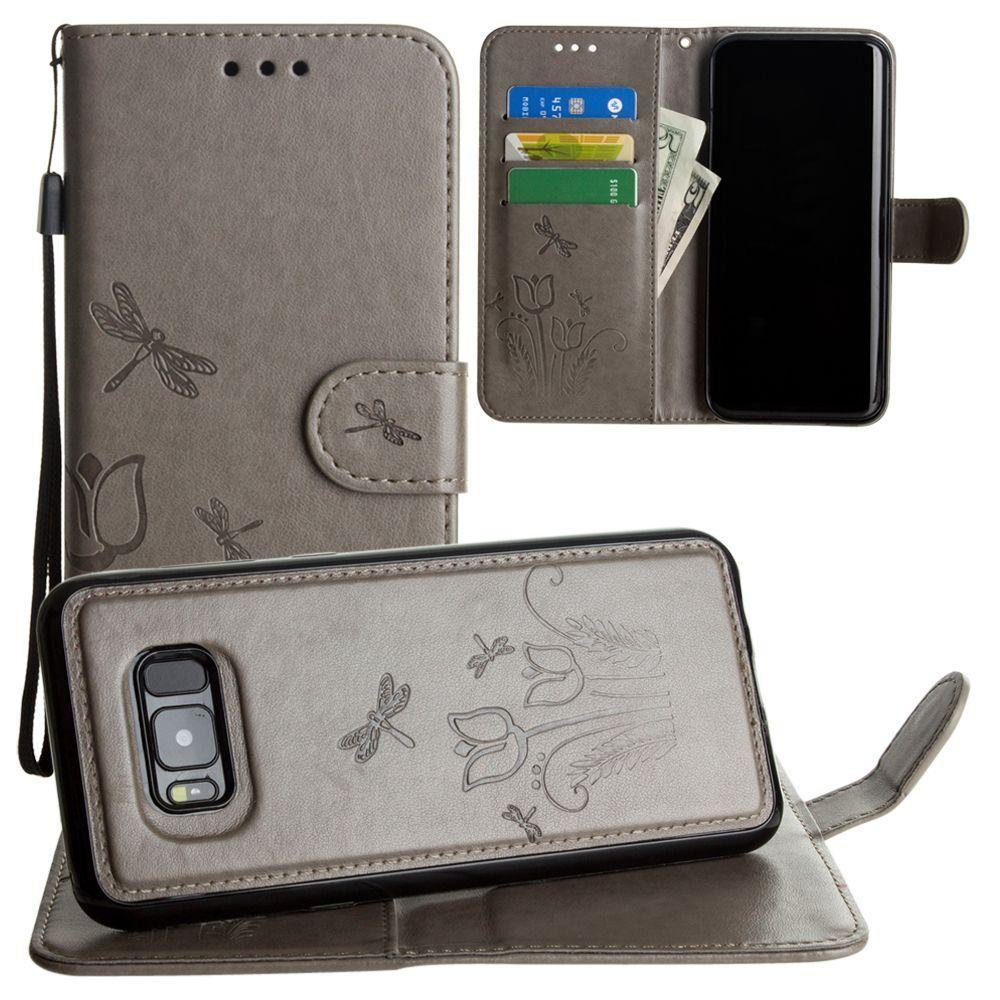 - Embossed dragonfly over tulip design wallet case with Matching detachable magnetic case and wristlet, Gray for Galaxy S8 Plus