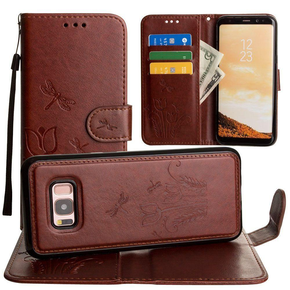 - Embossed dragonfly over tulip design wallet case with Matching detachable magnetic case and wristlet, Brown for Galaxy S8 Plus