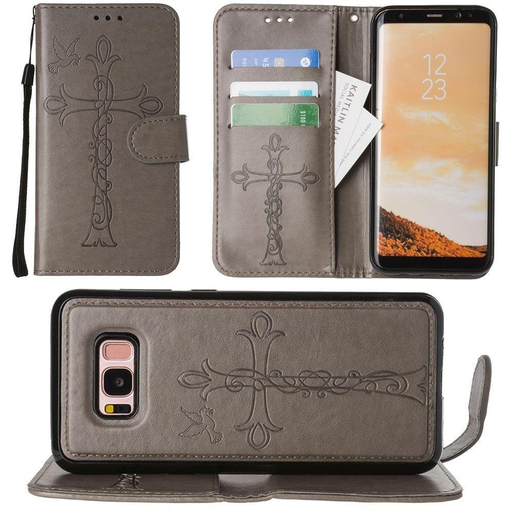 - Embossed Cross and Dove Wallet with Detachable Matching Slim Case and Wristlet, Gray for Galaxy S8 Plus